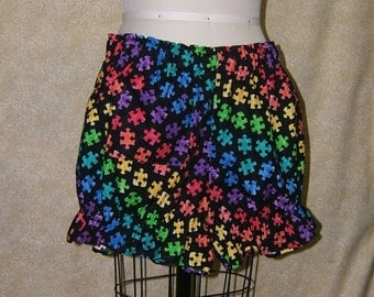 Rainbow puzzle piece bloomers cotton bright colors black cell pocket elastic at waist and leg openings womens large