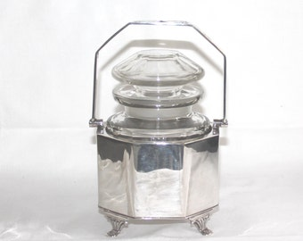 Antique silver plate and glass preserve, jam or pickle jar. Antique silver plate EPNS preserve pot