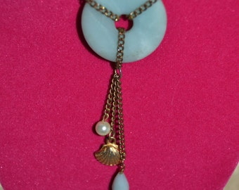 Amazonite and freshwater pearl necklace with seashell accent
