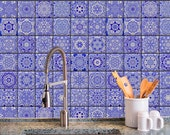 Removable Wallpaper- Cobalt Tiles - Peel & Stick Self Adhesive Fabric Temporary Wallpaper-Repositionable-Reusable- FAST. EASY.