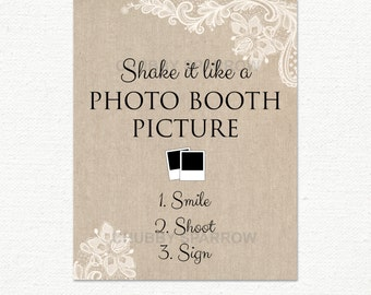 "Wedding Photo Booth, Guest Book Sign, Lace & Linen, 8x10"", Shake it like a picture, Printable, Instant download"
