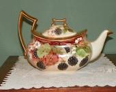 Antique Limoges TEA POT Serving teapot Porcelain Elegant Theodore Haviland Carafe Blackberry Berries encrusted gold gilt