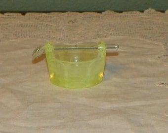 Antique Elegant SALT CELLER Dip Basket Bucket Pail Open sellar vaseline opalescent opal art glass