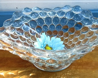 Thousand Eye Oval Bowl/Elegant Glass Bubble Bowl/Wedding Flared Oval Thousand Eye Rare Christmas Bowl