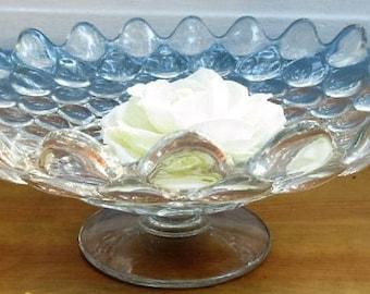RARE...Thousand Eye Round Pedestal Bowl/Elegant Glass Bubble Bowl/Wedding Flared Round Thousand Eye Rare Christmas Bowl
