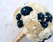 Custom Hand Dyed Gold & Navy Everlasting Bride's Bouquet - Sola Wood, Lace Flowers, Baby's Breath - Alternative Wedding Bouquet
