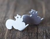 Dainty Squirrel Earrings / Super Cute Squirrel Sterling Silver Post Earrings