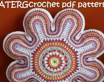 Crochet pattern FLOWER CUSHION by ATERGcrochet