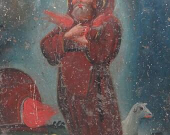 1800's Saint Francis of Paola Retablo,  Antique Oil on Tin Santo de Caridad, San Francisco