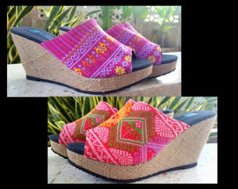 Womens Wedge Heel Sandal, Ethnic Slide Shoe,  Open Toe, Slip On, Summer Shoes - Sophie