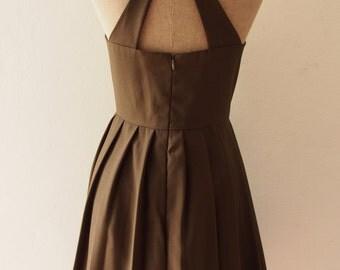 LOVE POTION - Party Dress Olive Green Dress, Green Midi Cocktail Dress, Audrey Hepburn Dress