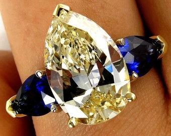 """Estate """"Canary"""" 5.67ctw Natural Fancy YELLOW Pear Shaped Diamond and Sapphire Trilogy 18k Gold Ring - Video"""