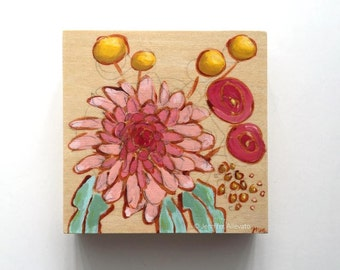 Original tiny painting floral pink flowers wall art -  A Bouquet for Nena