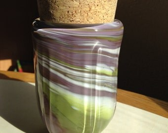 Hand Blown Glass Jar - Sierra Spring Optic with cork