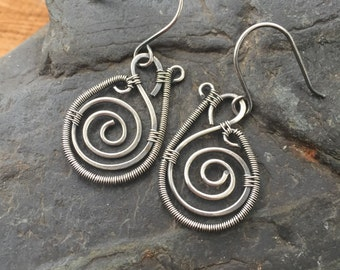 Sterling Silver Spiral Earrings, Silver Paisley Earrings, Wire Wrap, Wire Wrap Earrings, Sterling Silver Earrings, Wire Wrapped Earrings