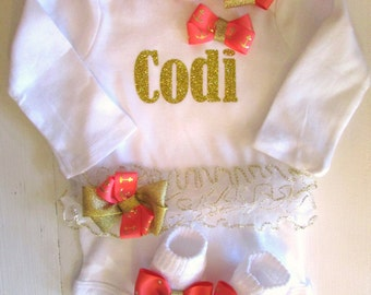 Newborn Baby Girl Coral and GOLD Take Home Outfit Baby Girl personalized monogrammed complete set  gold coral baby girl shower gift