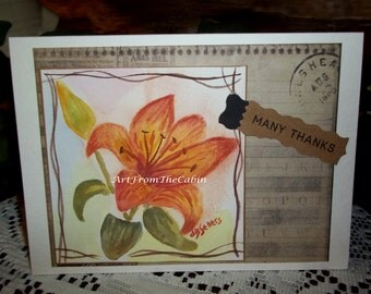Thank you card, watercolor card, watercolor lily, handmade card, orange flower, postcard-style paper, original card, ArtFromTheCabin