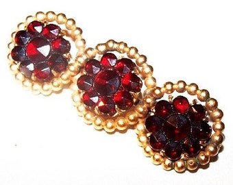 "Bohemian Garnet Bar Brooch Rose Cut Victorian Gold Metal 1.5"" C Clasp Antique Vintage"