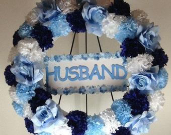Gravesite Wreath, Cemetery Silk Flowers, Memorial Flowers, Funeral