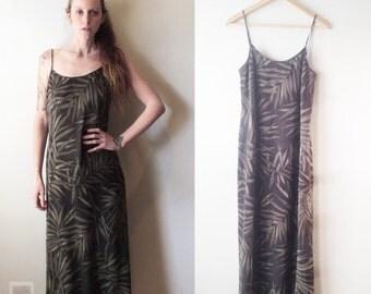 Vintage SILK Jones New York FERN Dress plant lady earth momma slip