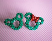 Mickey and Minnie Mouse Earrings , Christmas Earrings, Mickey Minnie Wreath Earrings -- Mickey Mouse, Minnie Mouse, Mouse Ears