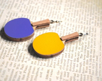 Ping Pong Earrings -- Ping Pong Paddle, Sports, Olympics, Purple and Yellow