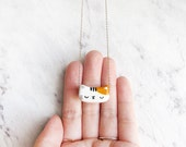 Orange Patches - Cat Polymer Clay Acrylic Hand Painted Customized Gold Fill Necklace *Support Local Adoption*