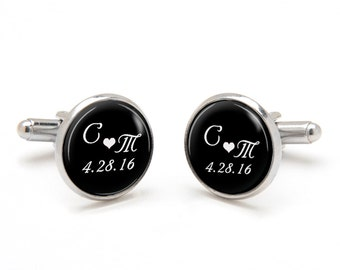 Monogrammed Cufflinks - Wedding Cufflinks - Personalized with Bride and Groom Initials and Wedding Date - Customized Gift for Groom