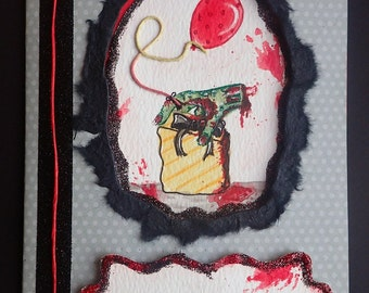 Handmade/Painted Horror GORY/Zombie Peep-Hole Birthday Card