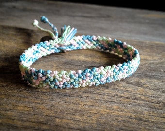 Pastel Friendship macrame bracelet with tassel summer boho jewelry woven in Blue, Green and Pink braided by Mariposa