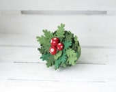 Miniatute forest tussock with amanitas, Felted decor for collectibles shelf