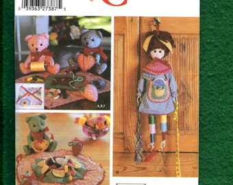 Simplicity 5227 Sewing Room Doll & Bear Helper and Storage Cases UNCUT