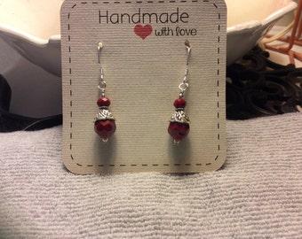 Earrings, Dangle, Handmade, Red