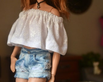 MADE TO ORDER - White Floral Off-shoulder Top for 12in Fashion Dolls