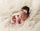 NEUTRAL COLLECTION ~ Bria (Newborn Tieback, Newborn Headband, Newborn Photo Prop, Newborn Crown, Newborn Halo, Rustic, Organic, Natural)