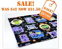 Sale 25% OFF Set of 4 Halloween Placemats READY To Ship  Plus Free Gift. 4  Cotton Placemats  Black Orange Green Blue Purple