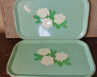 Pair of Green Camellia Flower Serving Trays, Metal Snack Trays, Green and White Floral Trays