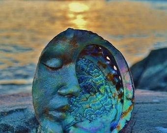 Reserved for Abana, May Payment 2 of 3, Abalone Moon Shell Sculpture by ShapingSpirit