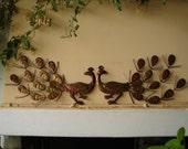1950 pair tin peacock wall hangings, kitsch brass copper effect rusty metal pair vintage birds