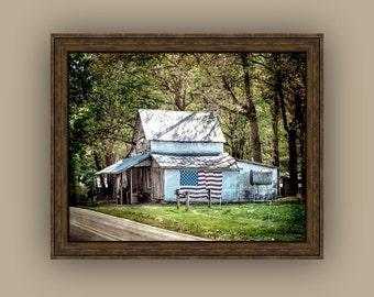 Stars and Stripes Country Rustic Farm Decor American Flag Nostalgic Country Living North Carolina Fine Art Photography Print