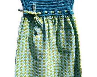 Spring Dress, Easter Dress, Summer Dress, Crochet Toddler Dresses, Teal and Lime Dress