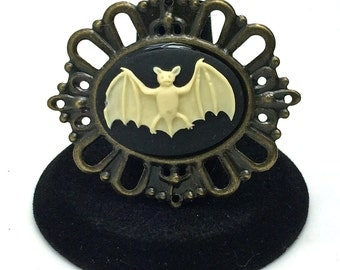 Bat Brooch, Steampunk Brooch, Rockabilly Brooch, Goth Brooch, Lolita Brooch, Cameo Brooch