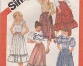 Prairie Style Skirt Pattern Simplicity 5790 Size 16 Waist 30