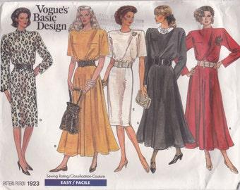80s Loose Fitting Dress Pattern Vogue 1923 Sizes 14 16 18 Uncut
