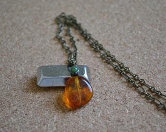 SALE Orange Glass Pendant Brass-Bronze Necklace. Everyday Accessory. CLEARANCE