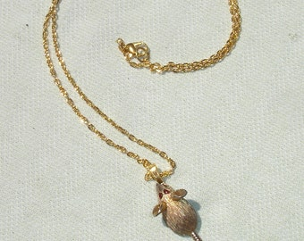 Upcycled Cute Rat Pendant on Golden Chain