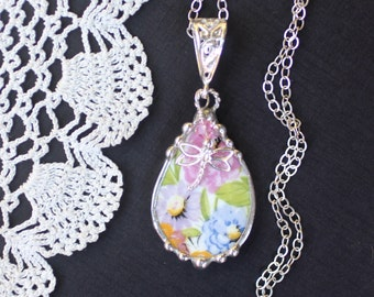 Necklace, Broken China Jewelry, Broken China Necklace, Pink Yellow and Blue Floral, Teardrop Pendant, Sterling Silver, Soldered Jewelry