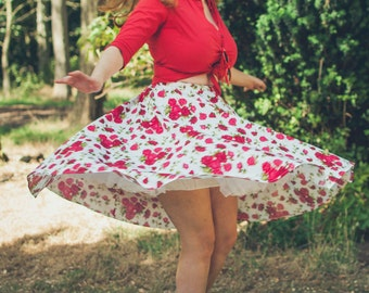 Roses rockabilly skirt- Pin up, 50's, red, white, circle skirt