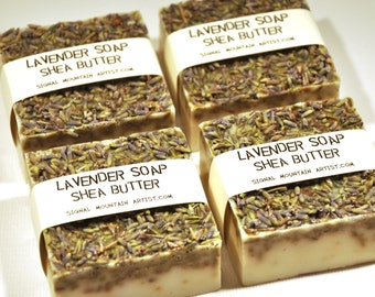 Lavender infused soap, two fragrant 3.5 oz hand-poured shea butter guest soap