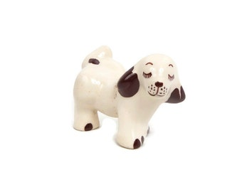 Vintage Walker Pottery Dog Springer Spaniel Figurine Ceramic Whimsical Dog Puppy Leg Up